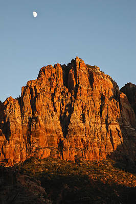 Photograph - Zion Sunset Moonrise 2 by Lee Kirchhevel