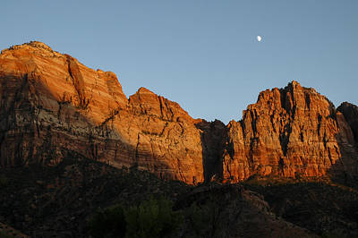 Photograph - Zion Sunset Moonrise 3 by Lee Kirchhevel