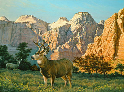 Buck Painting - Zioncountry Muleys by Paul Krapf