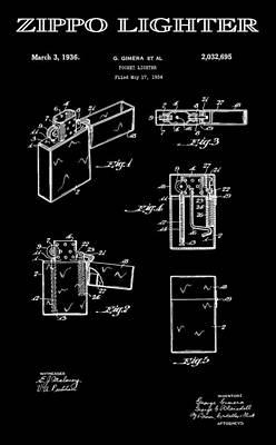 Zippo Lighter 2 Patent Art 1936 Art Print by Daniel Hagerman