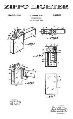 Zippo Lighter 3 Patent Art 1936 Art Print by Daniel Hagerman