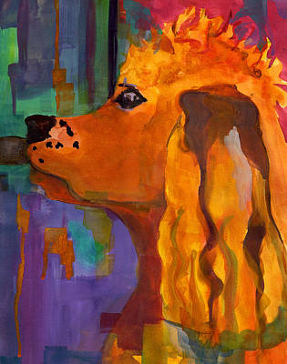 Dog Abstract Art Painting - Zippy Dog Art by Blenda Studio