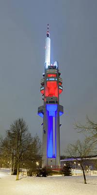 Zizkov Television Tower At Night Art Print