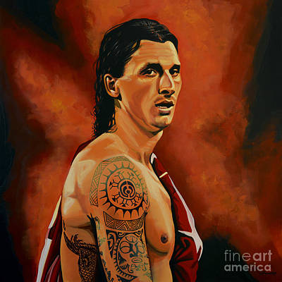Soccer Painting - Zlatan Ibrahimovic Painting by Paul Meijering