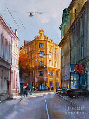 Moscow Wall Art - Painting - Zlatoustinskiy Alley.  by Alexey Shalaev