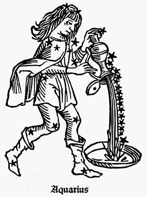 Water Jug Drawing - Zodiac Aquarius, 1482 by Granger