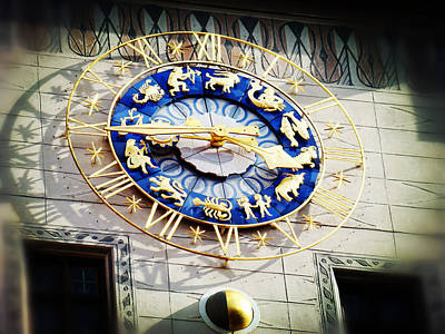 Marienplatz Photograph - Zodiac Clock In Munich by Zinvolle Art