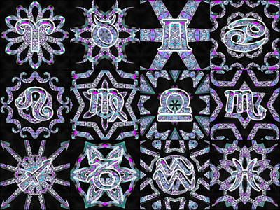 Digital Art - Zodiac Flower Chart by Derek Gedney