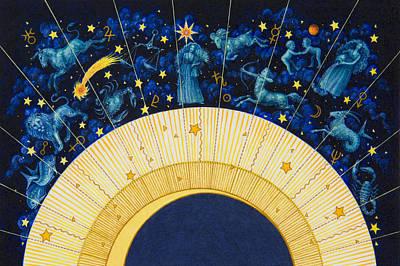 Aquarius Painting - Zodiac Moon by Lynn Bywaters