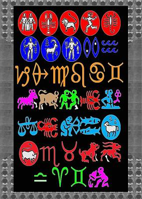 Zodiac Symbols Mixed Media - Zodiac Symbols Artistic Colorful by Minu B