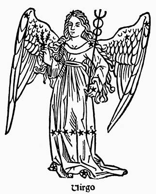 Virgo Drawing - Zodiac Virgo, 1482 by Granger
