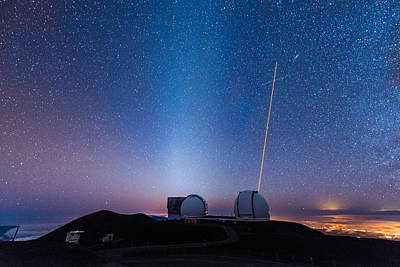 Photograph - Zodiacal Light Above Mauna Kea Observatory by Jason Chu