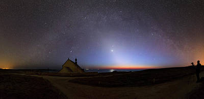 Cassiopeia Constellation Photograph - Zodiacal Light Over Chapel by Laurent Laveder