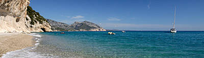 Cala Photograph - Zodiacs And Sailboat In The Sea, Cala by Panoramic Images