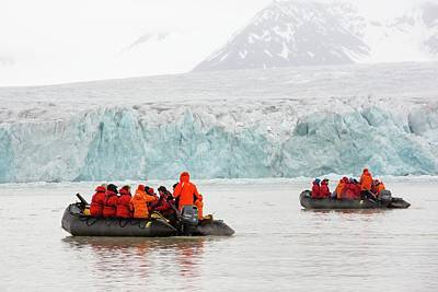 Inflatable Boats Photograph - Zodiaks In Svalbard by Ashley Cooper