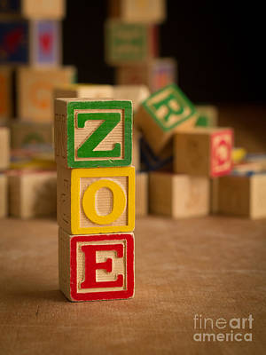 Photograph - Zoe - Alphabet Blocks by Edward Fielding