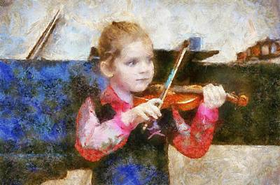 Violin Digital Art - Zoe Plays The Violin by Carol Sullivan