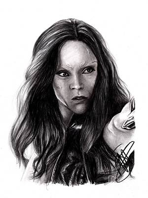 Drawing - Zoe Saldana 2 by Rosalinda Markle