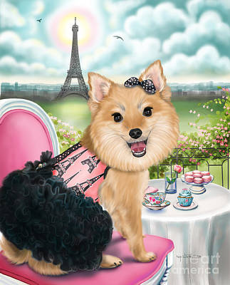 Mixed Media - Zoey Bear In Paris by Catia Cho
