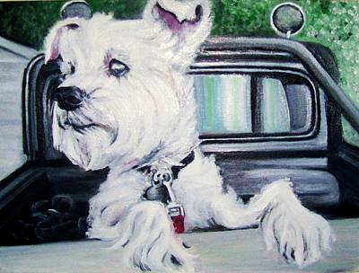Zoey Waits For A Ride Art Print
