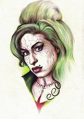 Drawing - Zombie Amy by Tim Thorpe