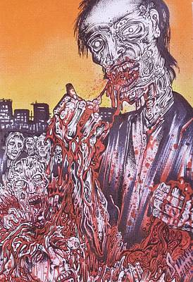Zombie Blood Sunset Art Print by Sam Hane
