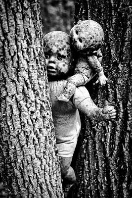 Zombie Dolls Black And White Print by Shelly Stallings