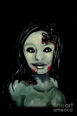 Acrylics Painting - Zombie Girl by Marisela Mungia