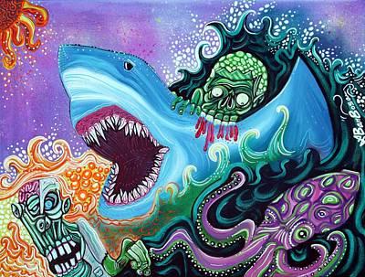 Zombie Handfishin Art Print by Laura Barbosa