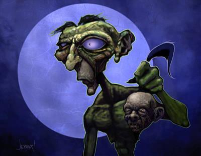 Zombie Head-hunter Art Print by Jephyr Art