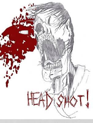 Dead Heads Drawing - Zombie Head Shot by Michael Adams