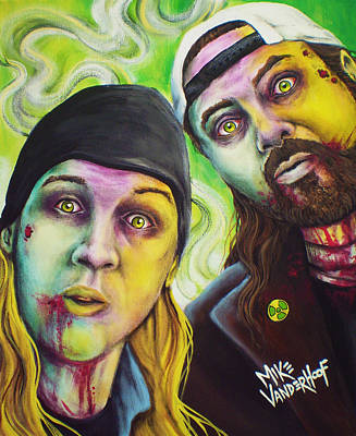 Ben Affleck Wall Art - Painting - Zombie Jay And Silent Bob by Mike Vanderhoof