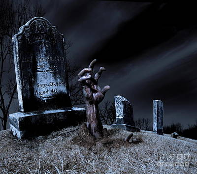 Zombie Rising From The Grave Art Print by Diane Diederich