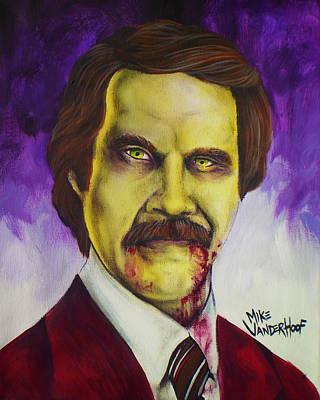 Zombie Ron Burgundy Art Print