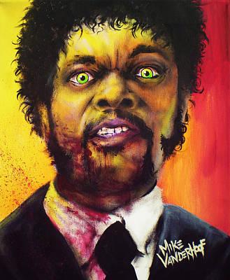 Grindhouse Painting - Zombie Samuel Jackson by Mike Vanderhoof