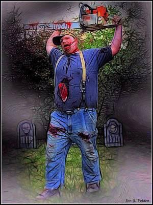 Zombie With Chainsaw  Art Print