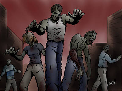 Zombies Art Print by Joseph Vallejo