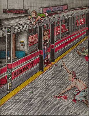 Zombies On The Red Line Art Print