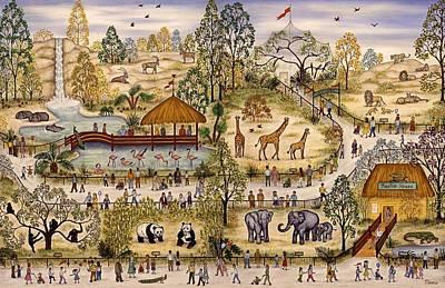 Giraffe Painting - Zoo Three by Linda Mears