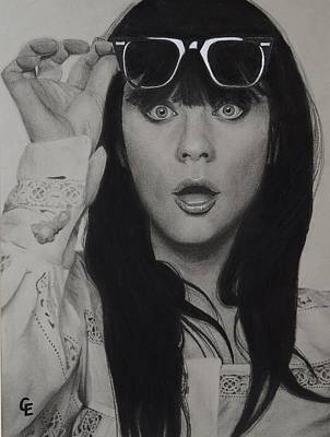 Zooey Deschanel Art Print by Chrissy Eckman