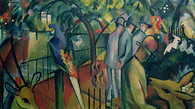 Cockatoo Photograph - Zoological Garden I, 1912 Oil On Canvas by August Macke