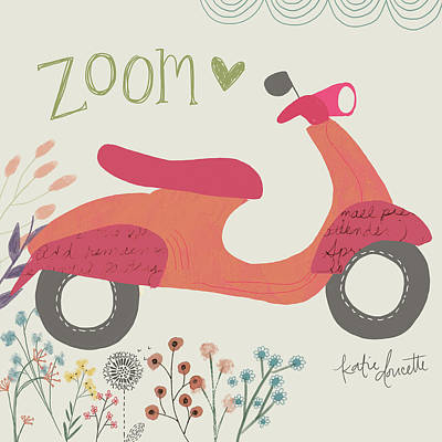 Zoom Scooter Art Print by Katie Doucette