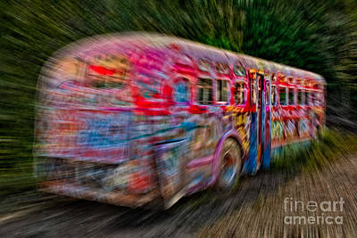 Photograph - Zooming Graffiti Bus by Susan Candelario