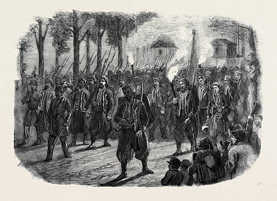 Zouaves Quitting Versailles By Torchlight Art Print by English School