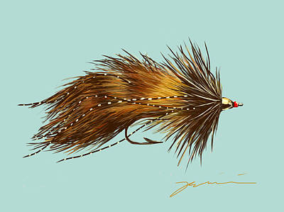 Trout Stream Drawing - Zuddler by Jean Pacheco Ravinski