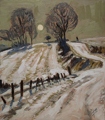 Hill Painting - Zuid Limburg First Snow And Full Moon by Nop Briex