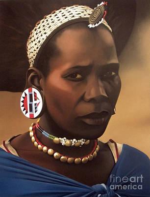 Beadwork Painting - Zulu Maiden by Edgar Pretorius