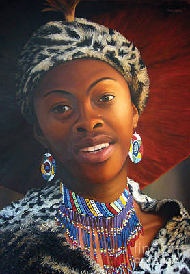 Beadwork Painting - Zulu Woman by Edgar Pretorius