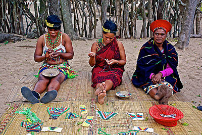 Beadwork Digital Art - Zulu Women Doing Beadwork In Dumazulu-south Africa  by Ruth Hager