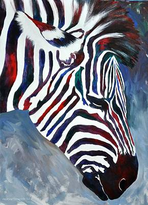 South Africa Zebra Painting - Zulu Zebra by Heather Hancock